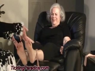 Fat Grandmas feet tickled quick clip