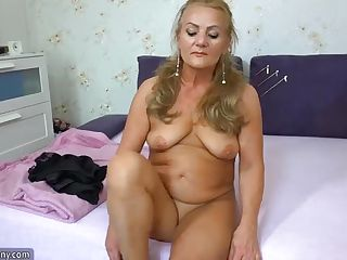 Old mature doing striptease and masturbate