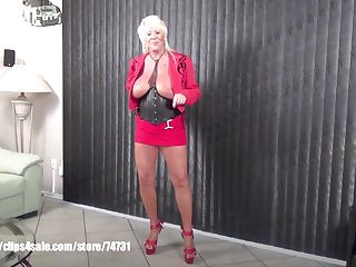 Sexy granny Mandi McGraw talking sex store