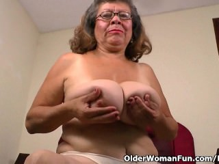 Silky nylon gets granny Brenda in the mood