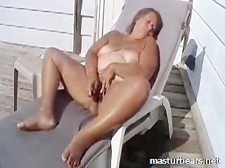 61 years Granny cumming outdoor on Terrace